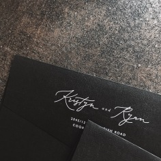 KRISTYN & RYAN / white on black envelope flap print