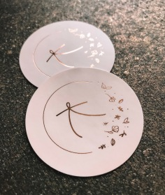 KATIE COOPER / stickers with hand illustrated florals in rose gold on pale pink