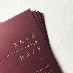 LAURA & BRENDAN / matte gold foil on burgundy