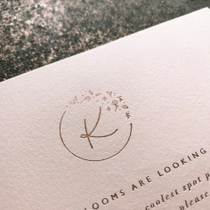 KATIE COOPER / care cards in rose gold on pale pink