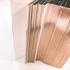 SOPHIE GALLO / embossing and rose gold edges on pale pink