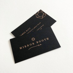 MIRROR BOOTH CO / rose gold on black business cards