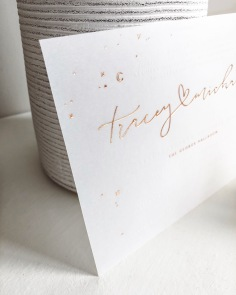 TRACEY & MICHAEL / rose gold foil and white ink on vellum