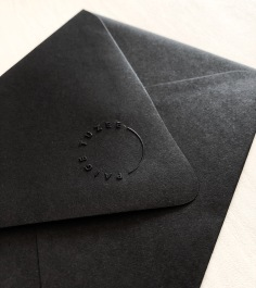 PAIGE TUZEE / embossing on black envelopes