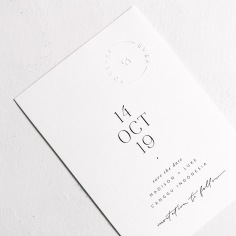 MADISON & LUKE / save the dates in black on white with a touch of embossing