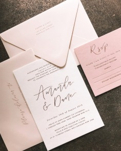 AMANDA & DANE / rose gold on blush pink and ivory, with pale pink envelopes