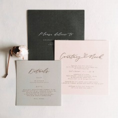 COURTNEY & NICK / rose gold on pale pink and pale grey, with charcoal envelopes