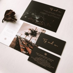 TP & CO / matte gold foil on black business cards and postcard design