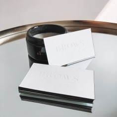 BROWS & CO / embossed business cards with black edges