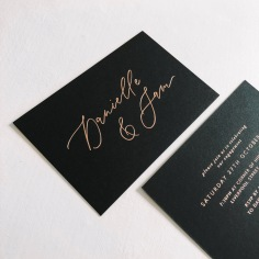DANIELLE & SAM / rose gold on black mini invitations