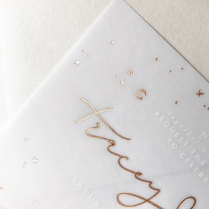 TRACEY & MICHAEL / rose gold foil stars on vellum
