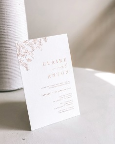 CLAIRE & ANTON / rose gold foil on white with hand illustrated leaves