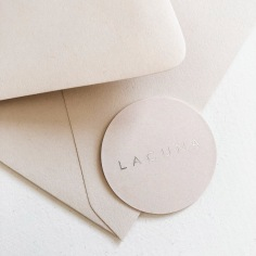 LACUNA / branding in nude and silver foil