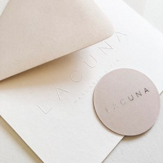 LACUNA / branding in nude, emboss and silver foil