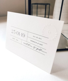 GEORGIE & SAM / save the dates in black and white with embossed stamp