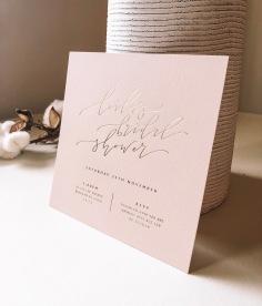 LEILA'S BRIDAL SHOWER / gold foil on pale pink