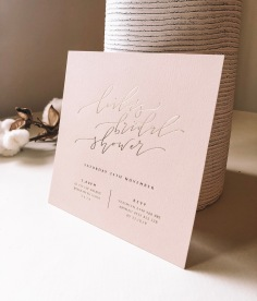 LEILA'S BRIDAL SHOWER / gold foil on pale pink