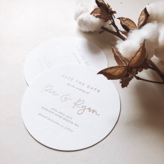 PIA & RYAN / matte gold foil circle save the dates
