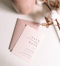 KYLIE & GUISEPPE / black on pale pink with blush envelopes