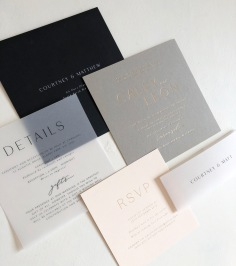 CALEY & LEON / gold foil on grey and pale pink, black on vellum