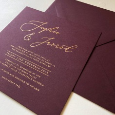 SOPHIE & JARROD / matte gold foil on burgundy