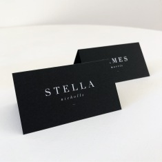STELLA & JAMES / place cards in white ink and black