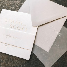 SARAH & SCOTT / gold on white, white on vellum and grey envelopes