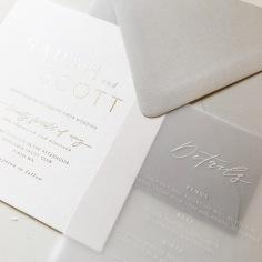 SARAH & SCOTT / gold on white, white on vellum and grey envelopes