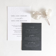EMMA & GREG / blind letterpress hand illustrated magnolia with black letterpress text, details in white ink on charcoal