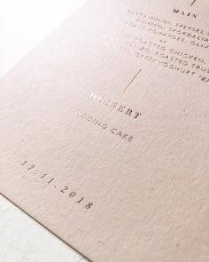 MARIA & NICK / menus in rose gold and pale pink