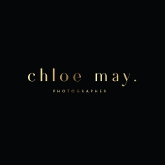 CHLOE MAY / branding in gold, white and black