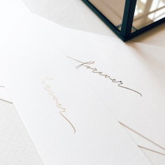 SARAH & SCOTT / gold foil belly bands with handwritten 'forever'