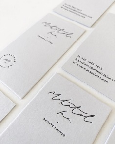 MAKATOLO INC. / branding and business cards in black letterpress on 600gsm pale grey