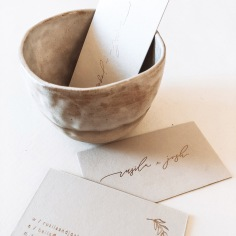 RUSILA & JOSH / branding and business cards in rose gold on nude