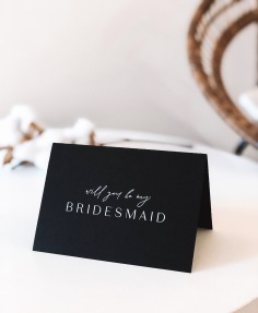 BRIDESMAID CARDS / white ink on black