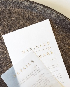 DANIELLE & MARK / gold foil on cotton with gold foil on vellum