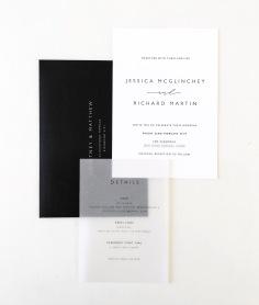 JESSICA & RICHARD / black letterpress on white with vellum details and black envelope