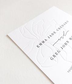 EMMA & GREG / blind letterpress hand illustrated magnolia with black letterpress text