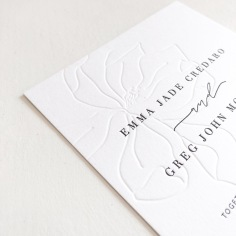 EMMA & GREG / blind letterpress hand illustrated magnolia with black letterpress text