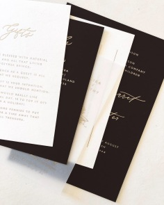 TAMIKA & TIMOTHY / matte gold foil on black, white and vellum