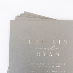 CAITLIN & RYAN / gold foil on 400gsm grey