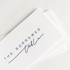 THE BORROWED TABLE / branding in black letterpress on 600gsm ivory