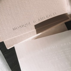 MONIQUE & AMERICO / emboss on pale pink