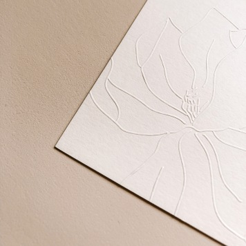 LAUREN & JP / hand illustrated magnolia embossed on pale pink