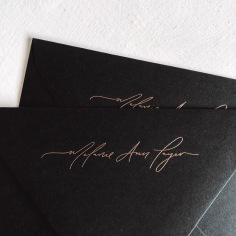 MELANIE ANN LAYER / hand lettering in rose gold foil on envelopes