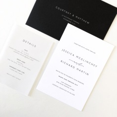 JESSICA & RICHARD / black letterpress on white with vellum details