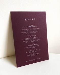 KYLIE & GIUSEPPE / menus in white ink and burgundy