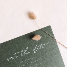 ELLA & BOBBIE / save the date in white ink and olive green