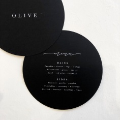 ASHLEIGH & KEN / circle menus in white on black