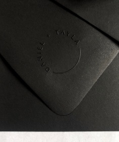 TAYLA & DANIEL / custom emboss stamp on black envelopes